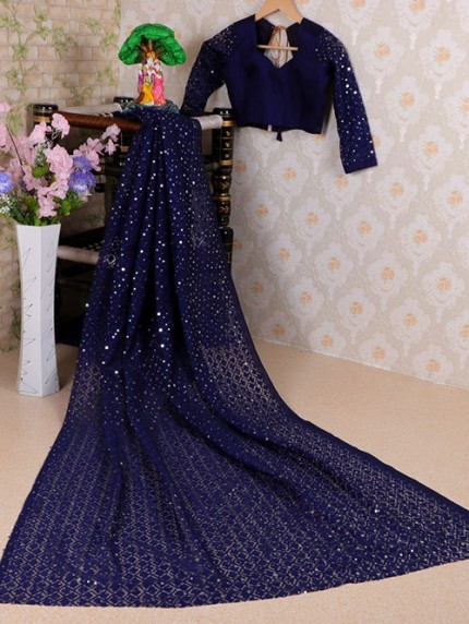 Blue Soft Net Jacquard Saree with Beautiful Sequence Work - gnp008423