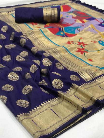 Blue Soft Pure Silk Paithani Weaving Rich Pallu Saree - gnp0108769