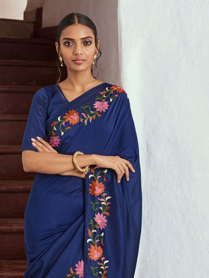 Blue Soft Silk Saree with Kashmiri Embroidery - gnp008319