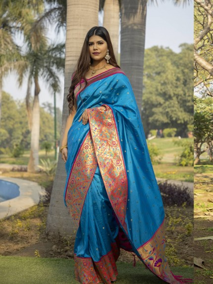 Blue Soft Silk saree with Patch Weaving Border GrabandPack