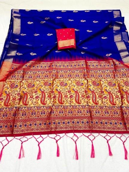 Blue Soft Silk Saree with Beautiful Reach Pallu and Jacquard Weaving - gnp0108835
