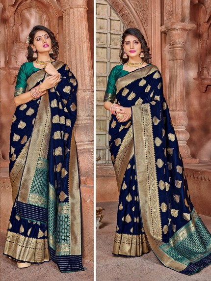 grabandpack blue silk saree