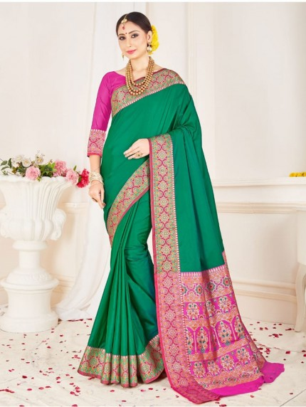 Branded Green Soft silk saree Online - Grab and Pack