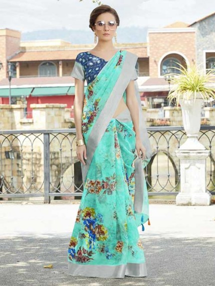 Branded Multi Colored Beautiful Printed Organza Saree