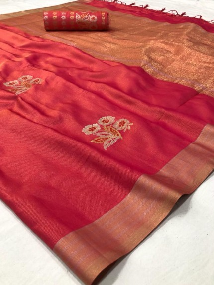Branded Red Soft Banarasi Silk Zari woven saree