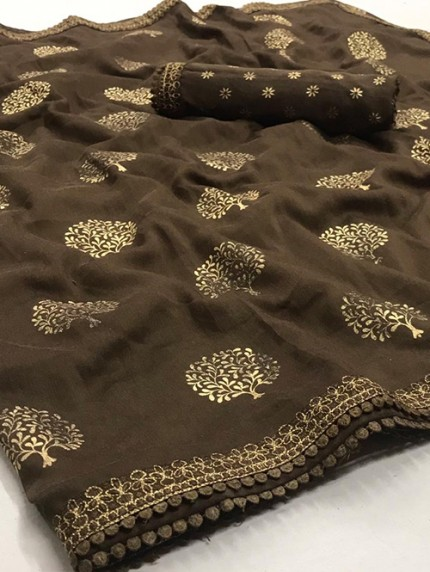 Brown Biba Silk with Gold Print and Lace - gnp008307