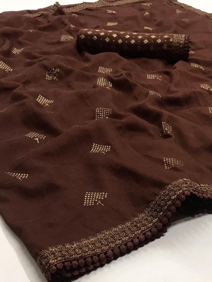 Brown Biba Silk with Gold Print and Lace - gnp008308