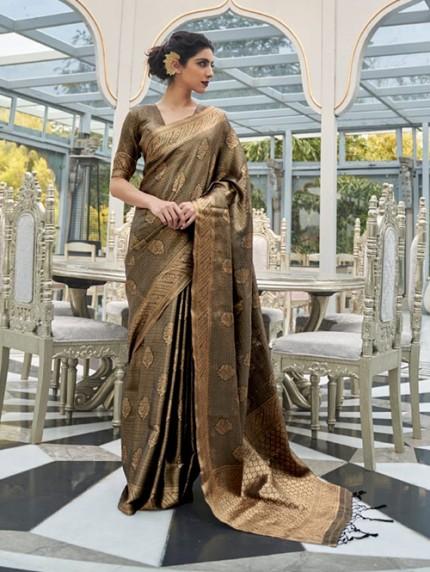 Brown Colored Banarasi Silk Online Saree Shopping - gnp0108027- Free shipping