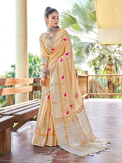 Brown Soft Linen Saree with Beautiful Gotapatti Border - gnp0108653