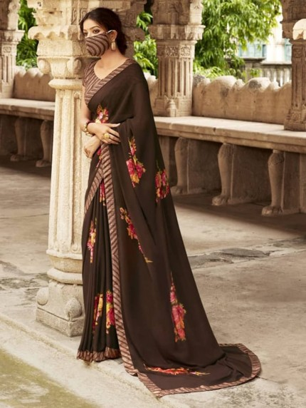 Brown Weightless Printed Saree With Fancy Mask - gnp009214