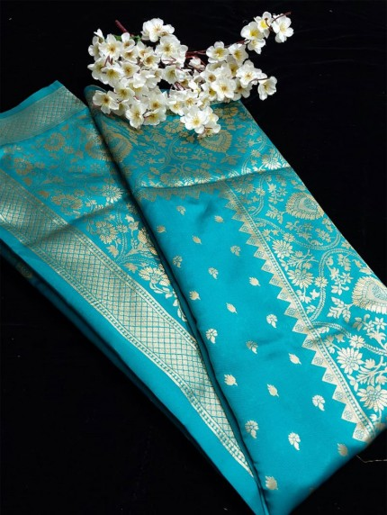 Sky Blue coloured Party wear saree grabandpack