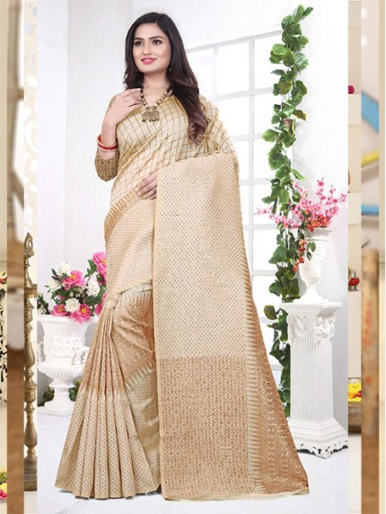 Cream Beautiful Khicha zari In Lichi Silk Saree - gnp008418