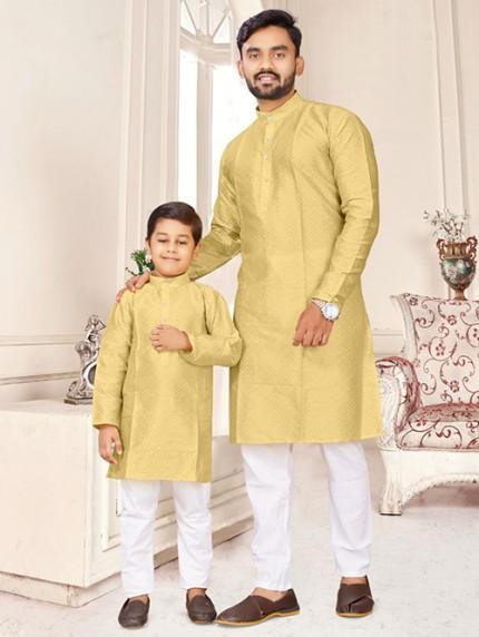 Cream Father and Son Matching Readymade Kurta with Pajama - gnp0108734