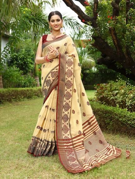 Unique Linen saree at grabandpack