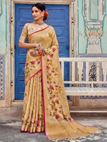 Cream Muslin Silk With Digital Printed Saree - gnp009118