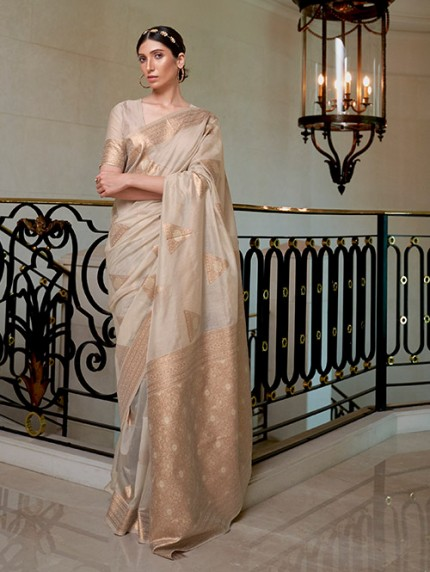 Cream Pure Modal Handloom Weaving Work Saree - gnp0108669