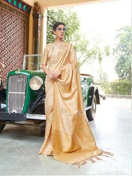 Cream Soft Banarasi Silk Zari Base saree gnp010687
