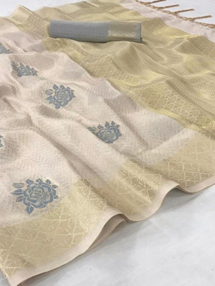 Cream Tissue Silk Saree With Zari Weaving - gnp008955