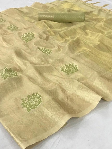 Cream Tissue Silk Saree With Zari Weaving - gnp008959