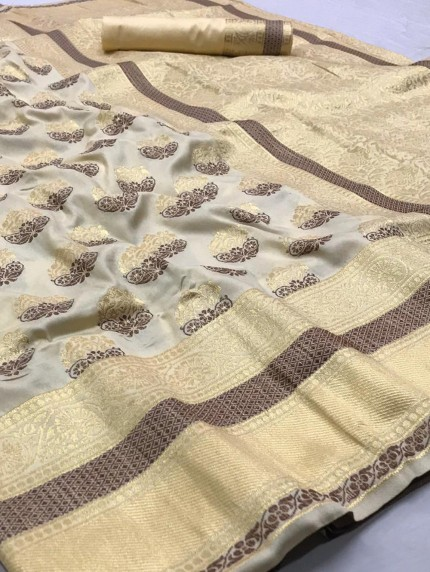 Cream Weaving Soft Silk Saree - gnp008758