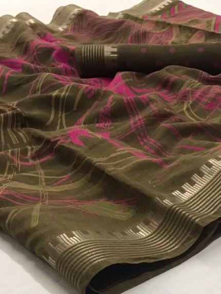 Damask linen Party wear Digital Printed saree