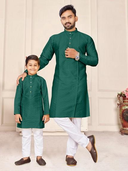 Dark Green Father and Son Matching Readymade Kurta with Pajama - gnp0108736