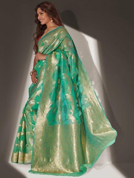 Devmanush Fame Neha Khan in Green Soft Banarasi Organza Weaving Saree - gnp0108649