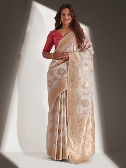 Devmanush Fame Neha Khan in Off White Soft Banarasi Organza Weaving Saree - gnp0108650