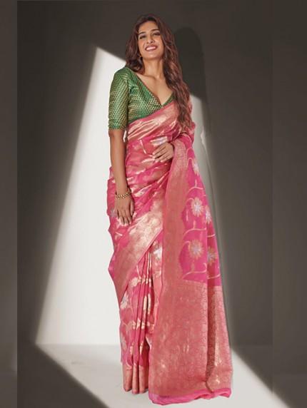 Devmanush Fame Neha Khan in Pink Soft Banarasi Organza Weaving Saree - gnp0108651