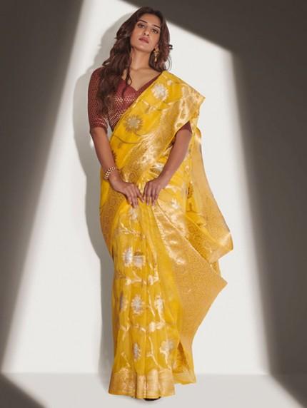 Devmanush Fame Neha Khan in Yellow Soft Banarasi Organza Weaving Saree - gnp0108652