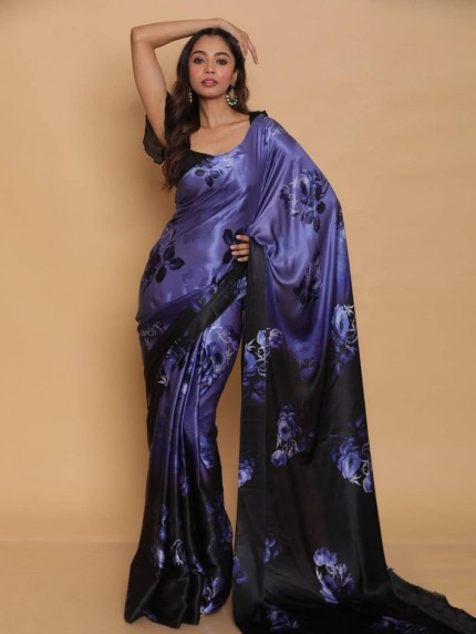 Digital printed japan satin silk saree