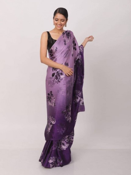 Digital printed japan satin silk saree- grabandpack