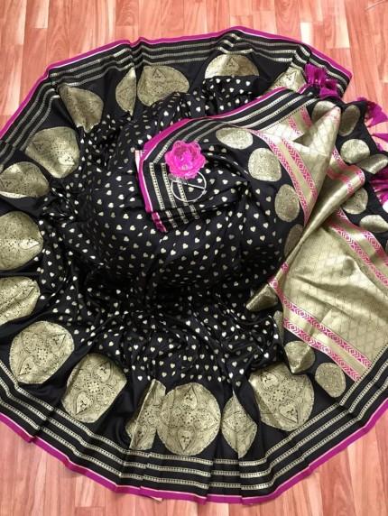 Elegant Look Banarasi Soft Silk Saree in Black