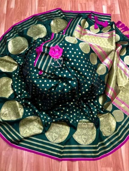 Banarasi Soft Silk Saree in Green
