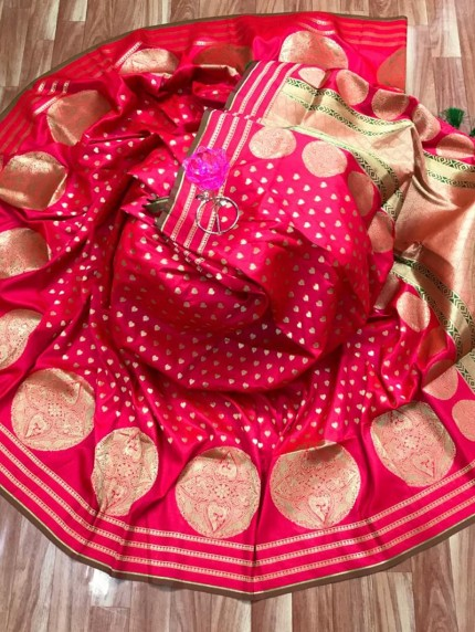 Elegant Look Banarasi Soft Silk Saree in pink