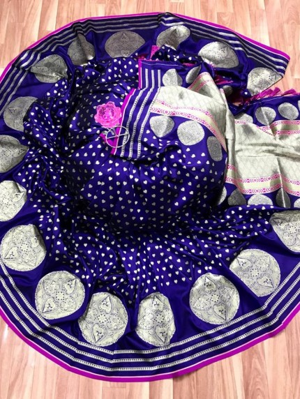 Elegant Look Banarasi Soft Silk Saree in Purple