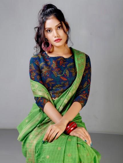 Fancy heavy Linen cotton Flax stylish Designer saree with Designer Blouse gnp008204