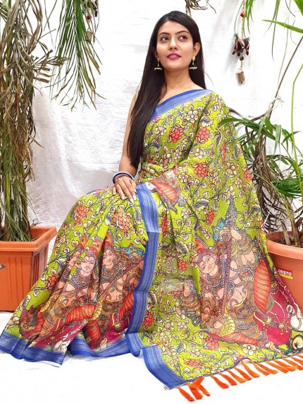 women's Fancy Kalamkari Linen Printed saree