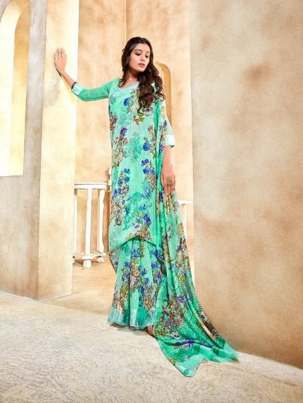 floral printed linen saree