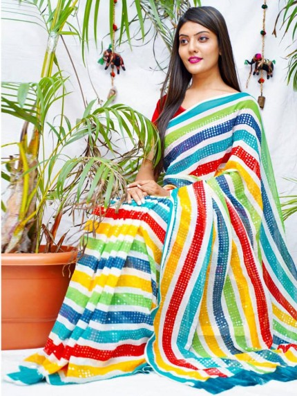 georgette saree with sequence work