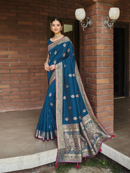 navy blue silk saree GrabandPack
