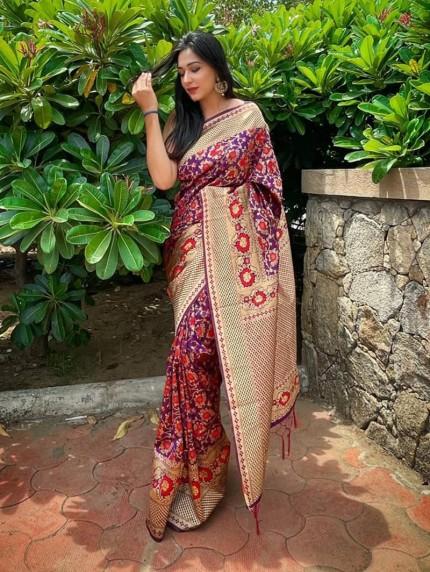 purple saree look