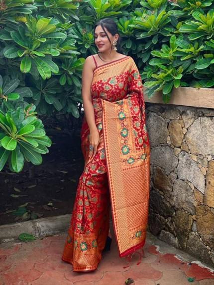 hot red silk saree