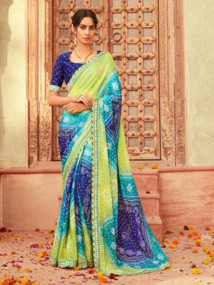 Green and Blue New Saree Design Hand Print Bandhani Chiffon Saree