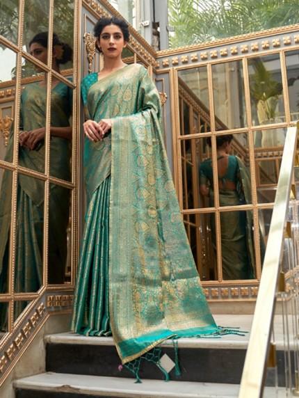 Green Colored Banarasi Silk Online Saree Shopping - gnp0108061