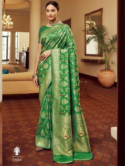 Green Colored Banarasi Soft Silk Saree - gnp0108761