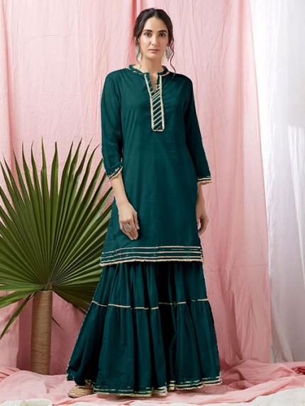 Green Colored Glorious Rayon Sharara Pant and Kurta With Gotta Patti - Eid Special