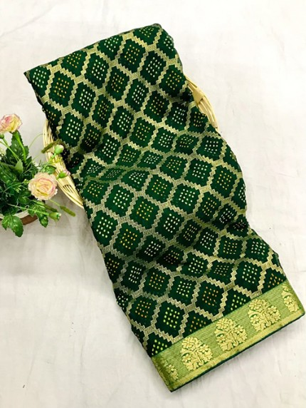 Green Colored Marble Chiffon Printed Saree