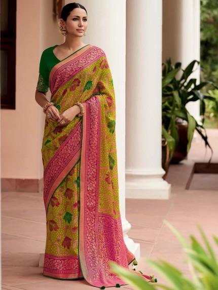 Green Colored Weaving Brasso Silk Saree - gnp0108795
