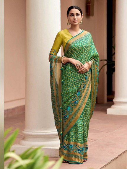 Green Colored Weaving Brasso Silk Saree - gnp0108798
